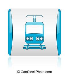 nät, glatt, fyrkant, blå, ikon, tåg, vit