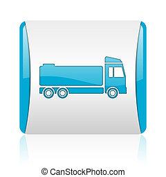 nät, glatt, fyrkant, blå, lastbil, ikon, vit