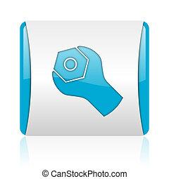 nät, glatt, fyrkant, blå, redskapen, ikon, vit