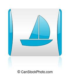 nät, glatt, fyrkant, blå, yacht, ikon, vit