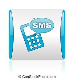 nät, glatt, sms, blåttar kvadrerar, ikon, vit
