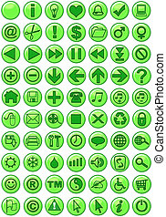 nät ikon, in, grön