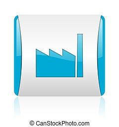 nät, industri, glatt, fyrkant, blå, ikon, vit