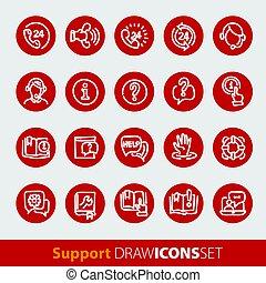 nät, inköp, kontor, icons., affär, vektor, media, glatt