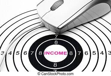 nät, inkomst, måltavla