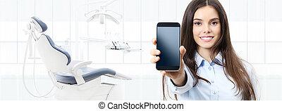 nät, kvinna, visande, bakgrund, tandläkare, dental, klinik, ringa, tandläkare, mall, stol, baner, le, smart, omsorg