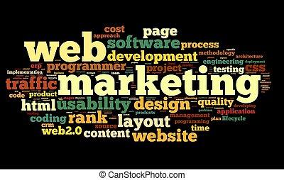 nät, marknadsföra, begrepp, in, ord, moln