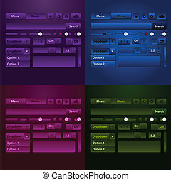 nät, media, button., ele, spelare, vektor