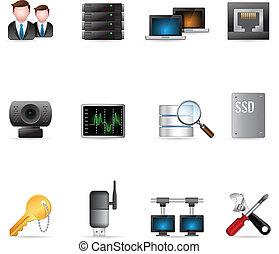 nät, nätverk, ikonen, -, dator, mer