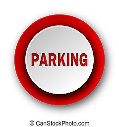 nät, nymodig, bakgrund, parkering, vit röd, ikon