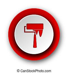 nät, nymodig, borsta, bakgrund, vit röd, ikon