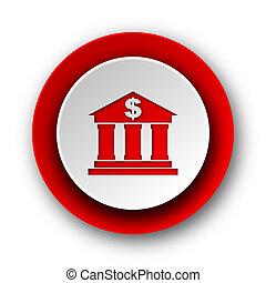 nät, nymodig, röd fond, vit, bank, ikon