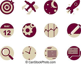 nät, rundat, applikationer, ikonen, mobil, lägenhet