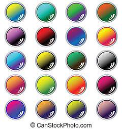nät, sätta, 20, blandad, knäppas, färger, runda