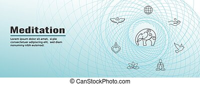 nät, sätta, dykning, meditation, baner, ikon
