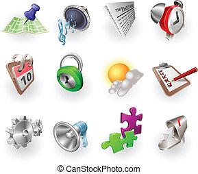 nät, sätta, färga, dynamisk, ansökan, ikon
