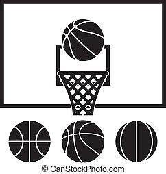nät, sätta, klumpa ihop sig, ryggstöd, vektor, basketboll