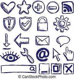 nät, sätta, nternet, ikonen