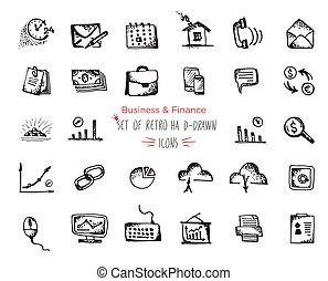 nät, skiss, sätta, finans, affär, hand-drawn, ikon