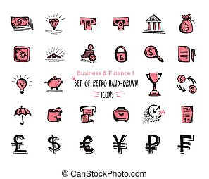 nät, skiss, sätta, finans, ekonomi, -, isolerat, pengar, payments., hand-drawn, svart fond, vit röd, ikon