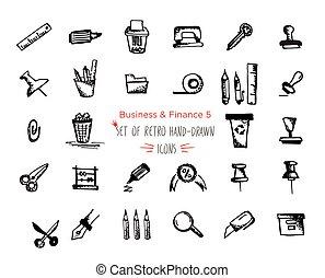 nät, skiss, sätta, finans, ekonomi, -, pengar, hand-drawn, payments, ikon