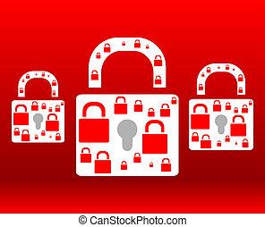 nät, skydda, hänglås, bakgrund, röd, ikon