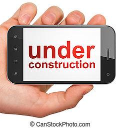 nät, smartphone, konstruktion, design, under, seo, concept: