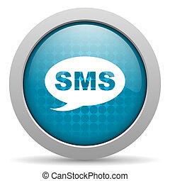 nät, sms, glatt, blå, ikon, cirkel