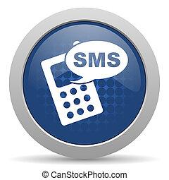 nät, sms, glatt, blå, ikon