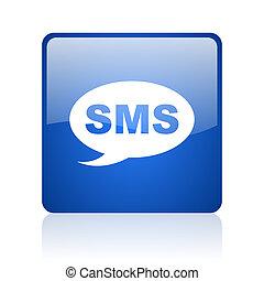 nät, sms, glatt, blåttar kvadrerar, bakgrund, ikon, vit