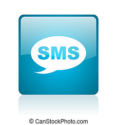 nät, sms, glatt, blåttar kvadrerar, ikon