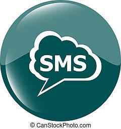 nät, sms, grön, glatt, bakgrund, cirkel, vit, ikon