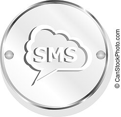 nät, sms, isolerat, glatt, bakgrund, vit, ikon