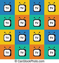 nät television, pattern., seamless, bakgrund., vektor, retro, icon.