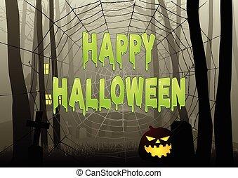 nät, trist, text, halloween, spindel, mörk, veder, lycklig