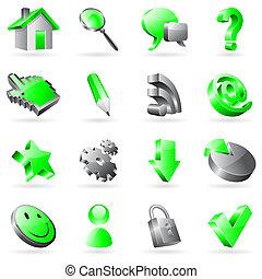 nät, vektor, icons.
