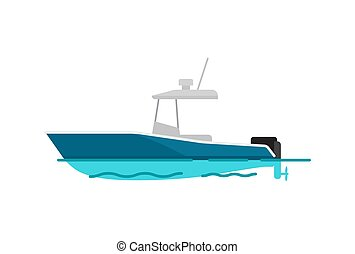 nätt, färg, illustration, vektor, hav, båt, mall