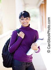 nätt, indisk, högskola, flicka, på, campus