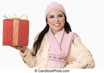 nätt, kvinna, med, gåva, (or, din, product)