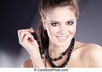 nätt, kvinna, med, smycken