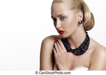 nätt, kvinna, och, vacker, guld, en, silver, smycken
