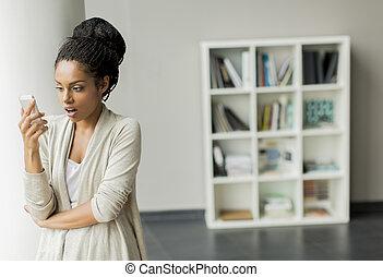 nätt, kvinna, ung, kontor
