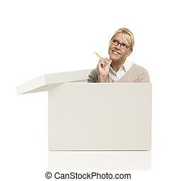 nätt, kvinnlig, poppa, ute, och, tycka utanför lådan