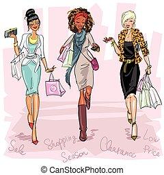 nätt, kvinnor, fashionabel