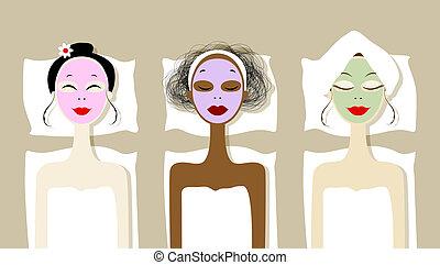 nätt, kvinnor, med, kosmetisk, maskera, på, vettar, in,...