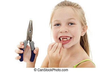 nätt, ung flicka, barn, dragande, glapp, tand, med, plattång