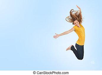nätt, ung kvinna, hoppa för glädje