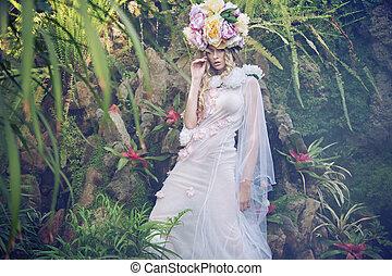 nätt, ung kvinna, tröttsam, inbillning, färgrik, hatt