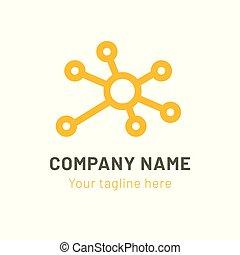 nätverk, abstrakt, connection., illustration, vektor, logo, design., ikon