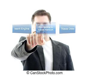nätverk, affär, knapp trycka, isolerat, white., social, toucha, interface., avskärma, man